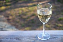 Exponeringsglas av vitt vin på däckräcket på solnedgången med trädgården i bakgrunden arkivbild