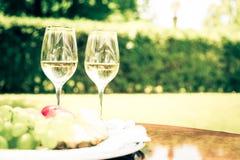 Exponeringsglas av vitt vin på tabellen Royaltyfri Fotografi