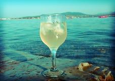 Exponeringsglas av vitt vin vid kusten Arkivfoto