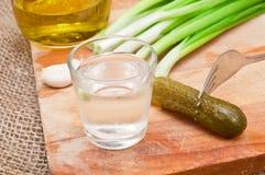 Exponeringsglas av vodka Arkivfoto