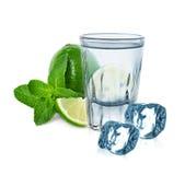 Exponeringsglas av vodka med limefrukt-, mintkaramell- och iskuber arkivbild