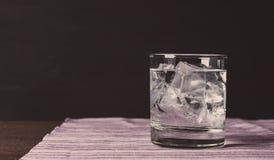 Exponeringsglas av vodka på vaggar arkivfoton