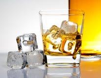 Exponeringsglas av whisky med is Arkivfoton