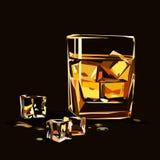 Exponeringsglas av whisky som isoleras med iskuber Arkivbild