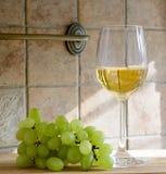 Exponeringsglas av wine och druvor Arkivfoto