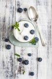 Exponeringsglas av yoghurt med nya blåbär Royaltyfri Fotografi