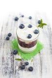 Exponeringsglas av yoghurt med nya blåbär Arkivbilder