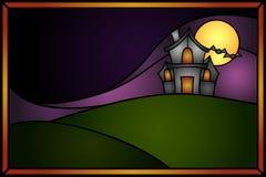 exponeringsglas befläckt spökat hus stock illustrationer