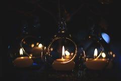 Exponeringsglas bubblar med brand med mitten Royaltyfria Bilder