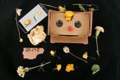 exponeringsglas 3D för lek på mobiltelefonen färgrik bakgrund Grejer och blommor orientering arkivfoto