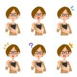 Exponeringsglas för ansiktsbehandling för uttryck för kvinna för Smartphone operationaffär royaltyfri illustrationer