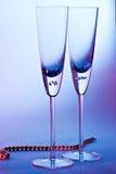 Exponeringsglas för champagne Arkivbild