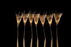 exponeringsglas för champagnemaskrosdroppe kärnar ur vatten Royaltyfri Bild