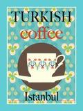 exponeringsglas för espresso för cezvekaffe kallt som tjänat som litet turkiskt vatten stock illustrationer