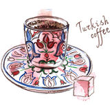 exponeringsglas för espresso för cezvekaffe kallt som tjänat som litet turkiskt vatten Fotografering för Bildbyråer