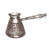 exponeringsglas för espresso för cezvekaffe kallt som tjänat som litet turkiskt vatten Svartvitt skissa Arkivfoto