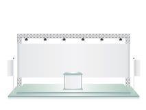Exponeringsglas för handelutställningställning och baner för vit flagga Royaltyfri Fotografi