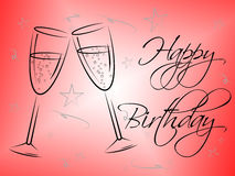 Exponeringsglas för lycklig födelsedag indikerar att gratulera lycka och att hälsa royaltyfri illustrationer