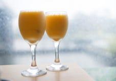 Exponeringsglas för orange fruktsaft Arkivbilder
