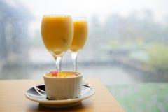 Exponeringsglas för orange fruktsaft Royaltyfri Fotografi