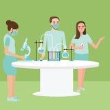 Exponeringsglas för rör för reaktion för experiment för kemi för arbete för lag för labbforskningaktivitet Arkivfoton