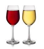 Exponeringsglas för rött och vitt vin arkivfoton