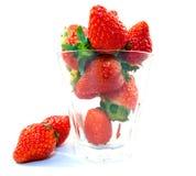 Exponeringsglas för rad för fruktjordgubbemat Royaltyfria Bilder