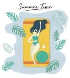 exponeringsglas för sol för kvinnakläder som garvar på pöl i skraj stil för sommartid royaltyfri illustrationer