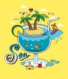 Exponeringsglas för strandsommarhav Royaltyfri Illustrationer