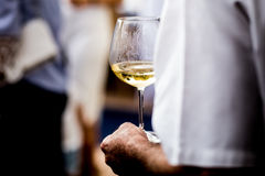 Exponeringsglas för uppassareportionvin Röda, vit- och Champagneexponeringsglas på sociala händelser royaltyfri fotografi
