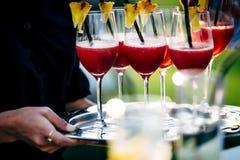 Exponeringsglas för uppassareportionvin Röda, vit- och Champagneexponeringsglas på sociala händelser royaltyfria foton