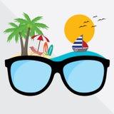Exponeringsglas för vektordiagram med stranden för begreppslopp- och resasommar idérik designsemestertid stock illustrationer