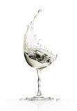Exponeringsglas för vitt vin på en vit bakgrund Fotografering för Bildbyråer