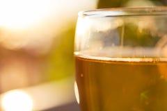 Exponeringsglas för vitt vin på suddig bakgrundsnärbild Royaltyfria Bilder