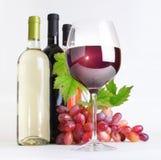 Exponeringsglas, flaskor av wine och druvor Arkivfoton