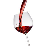 exponeringsglas hälld rött vin royaltyfria bilder