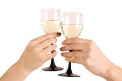 exponeringsglas hand två wine Fotografering för Bildbyråer
