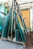 Exponeringsglas i industriellt glass bearbeta seminarium Arkivbild
