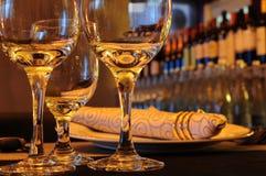 Exponeringsglas i restaurang Fotografering för Bildbyråer