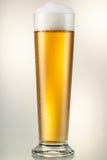 Exponeringsglas med öl som isoleras på vit. Snabb bana Royaltyfri Foto