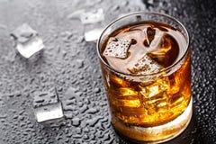 Exponeringsglas med alkoholdrycken Royaltyfri Fotografi