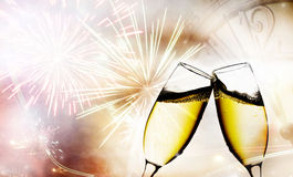 Exponeringsglas med champagne Arkivfoto