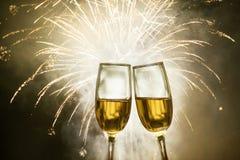 Exponeringsglas med champagne Fotografering för Bildbyråer