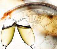Exponeringsglas med champagne Arkivfoton