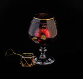 Exponeringsglas med en leksak Fotografering för Bildbyråer