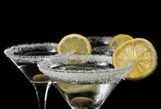 Exponeringsglas med en martini Royaltyfri Foto