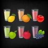 Exponeringsglas med fruktsaft och frukt Stock Illustrationer
