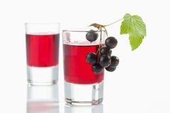 Exponeringsglas med genever, svarta vinbär arkivfoto