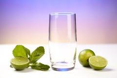 Exponeringsglas med limefrukt- och pepparmintblad Royaltyfri Bild