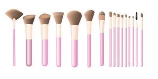 Exponeringsglas med makeupborstar stock illustrationer